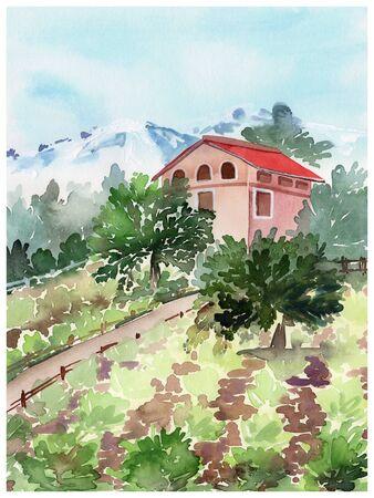 Landscape watercolor house in the field Stok Fotoğraf