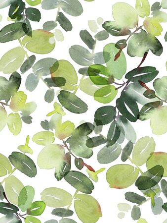 Seamless watercolor pattern with branches on a white background. Stok Fotoğraf