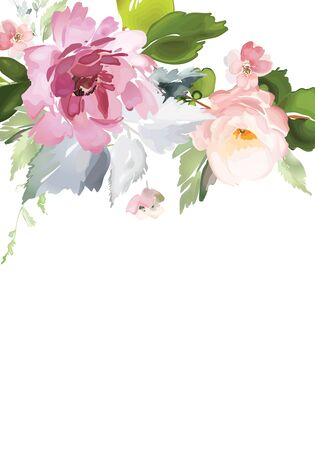 Tarjeta de vector con estampado de flores en estilo acuarela. Ilustración vintage hecha a mano.
