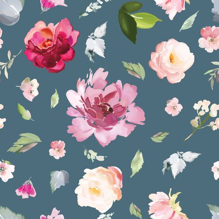 Vector seamless pattern with flower and plants in watercolor style. Çizim