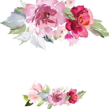 Vector card with floral pattern in watercolor style. Vintage handmade illustration. Archivio Fotografico - 135025488