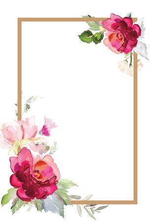 Vector card with floral pattern in watercolor style. Vintage handmade illustration. Archivio Fotografico - 135025470