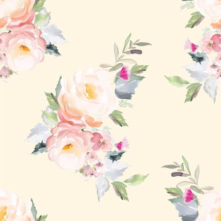 Vector seamless pattern with flower and plants in watercolor style. Archivio Fotografico - 135890566