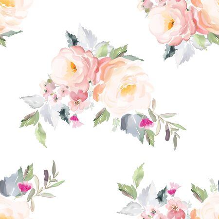 Vector seamless pattern with flower and plants in watercolor style. Archivio Fotografico - 135890567