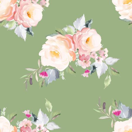 Vector seamless pattern with flower and plants in watercolor style. Archivio Fotografico - 135890569
