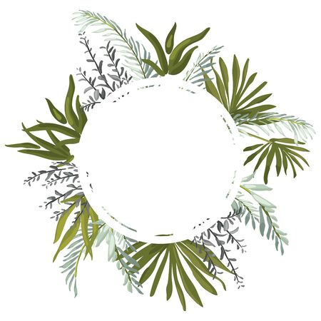 Tropical vector creative cards with abstract leaves and branches. Archivio Fotografico - 135027689