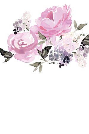 Vector card with floral pattern in watercolor style. Vintage handmade illustration. Archivio Fotografico - 135027178