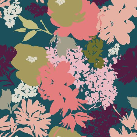 Seamless vector pattern with flower silhouettes in modern style. Archivio Fotografico - 135890574