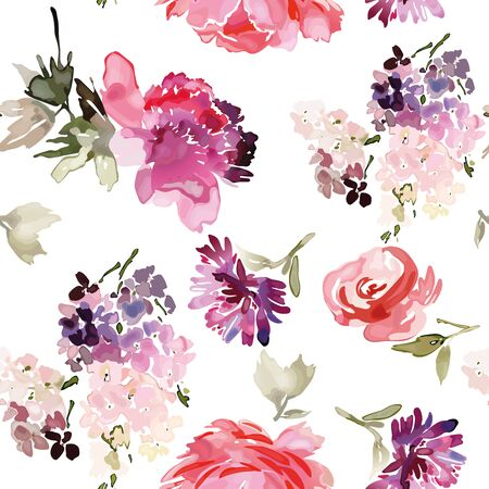 Vector seamless pattern with flower and plants in watercolor style. Archivio Fotografico - 135890576