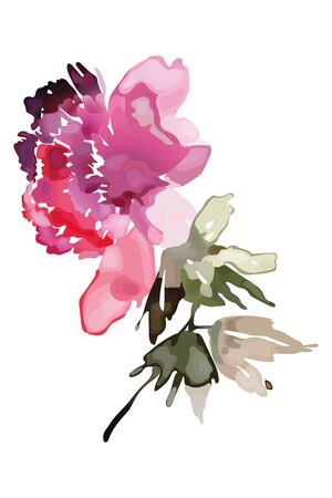 Abstract peony in watercolor style for postcards and congratulations Archivio Fotografico - 135027539