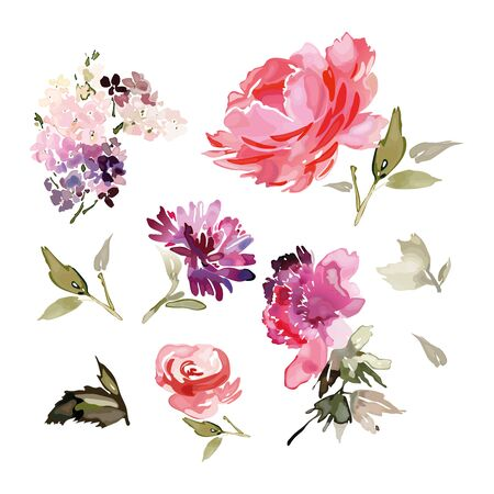Set of vector flowers in watercolor style. Abstract branches, peony, rose. Archivio Fotografico - 135027194