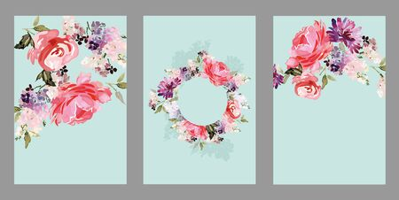 Set of vector floral elements and flowers in watercolor style for cards and wedding invitations. Archivio Fotografico - 135027090