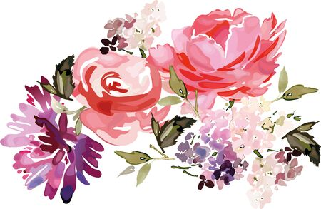 Vector card with floral pattern in watercolor style. Vintage handmade illustration. Archivio Fotografico - 135030181