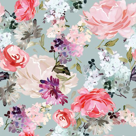 Vector seamless pattern with flower and plants in watercolor style. Archivio Fotografico - 135890547