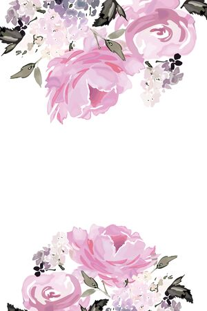 Vector card with floral pattern in watercolor style. Vintage handmade illustration. Archivio Fotografico - 135030662