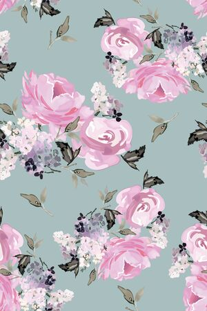 Vector seamless pattern with flower and plants in watercolor style. Archivio Fotografico - 135890549