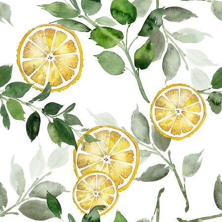 Watercolor wedding menu set with flowers and lemons. Archivio Fotografico - 135890554