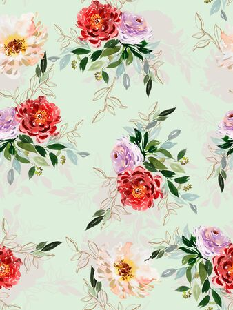 Seamless summer pattern with watercolor flowers handmade. Archivio Fotografico - 135890564