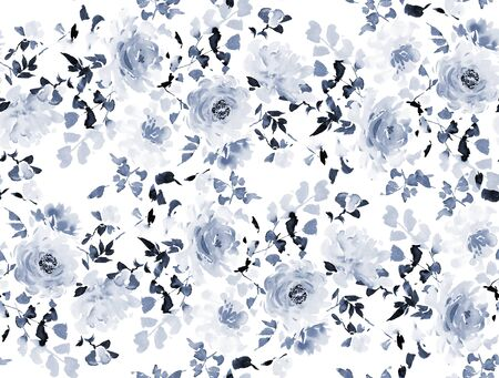 Seamless summer pattern with watercolor flowers handmade. Archivio Fotografico - 135890560