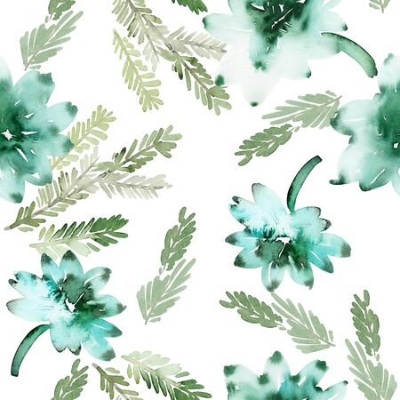 Seamless watercolor pattern with branches and succulents Archivio Fotografico - 135890563
