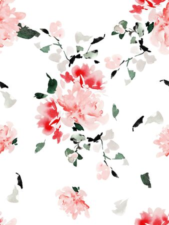 Seamless summer pattern with watercolor flowers handmade. Archivio Fotografico - 135890586