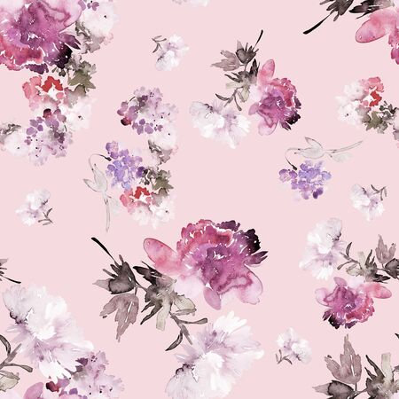 Seamless summer pattern with watercolor flowers handmade. Archivio Fotografico - 135890587