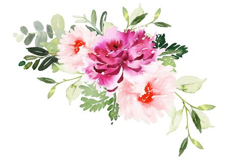 Greeting card with watercolor flowers handmade. Archivio Fotografico - 135890588