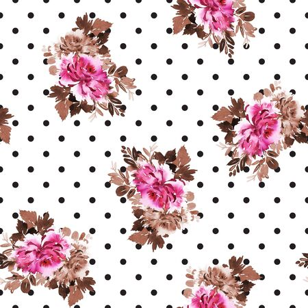 Seamless summer pattern with watercolor flowers handmade. Archivio Fotografico - 135890591