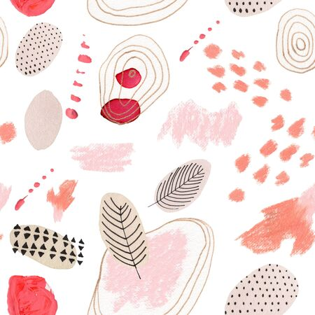 Abstract seamless pattern with watercolor spots. Handmade geometric shapes. Archivio Fotografico - 135890592