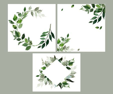 Wedding invitation, greeting card, watercolor painting with plant elements on a white background in modern style. Archivio Fotografico - 136978203