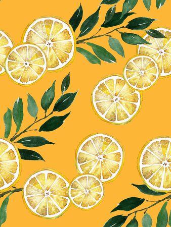 Watercolor wedding menu set with flowers and lemons. Archivio Fotografico - 137685397