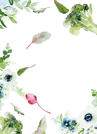 Menu with cauliflower and lettuce. Watercolor card on a white background. Archivio Fotografico - 137683978