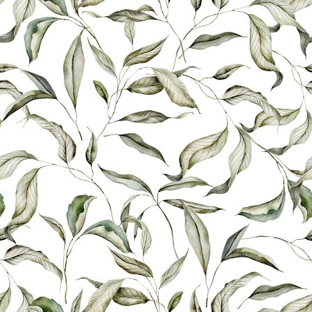 Seamless watercolor pattern with branches.