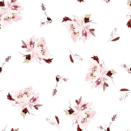 Seamless watercolor vector pattern with peonies. Zdjęcie Seryjne - 150485547