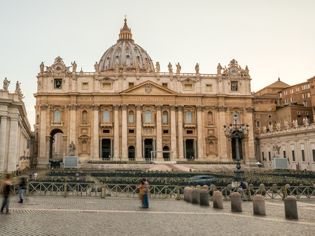 St. Peters Basilica cathedral with the epic dome in the Vatican City at dusk.