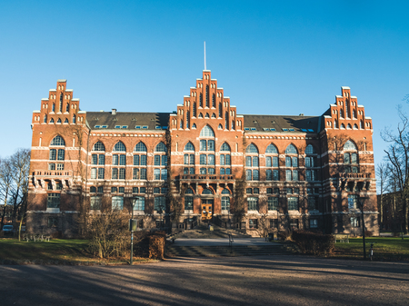 education in sweden: The big and beautiful University Library, called UB, in the student town of Lund, Sweden on a beautiful sunny day with a clear blue sky. January 4 2016.