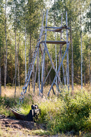 deer stand: A typical classic deer stand in northern Sweden. It is really a moose stand since moose is generally whats being hunted here.