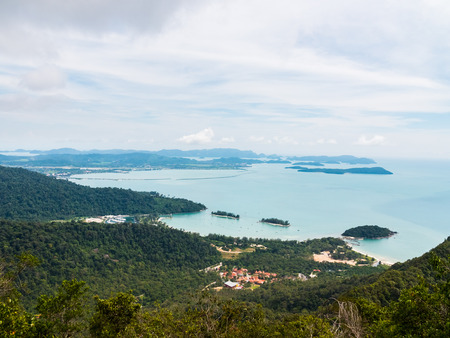 langkawi island: Mount Gunung Mat Cincang in Langkawi, Malaysia. The second highest mountain on the island. View over Pantai Kok on Langkawi Island and the Andaman Sea.
