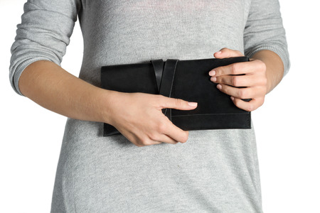 dolly bag: Woman Hands Holding Clutch On White Background