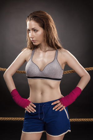 Woman Boxer On Ring 스톡 콘텐츠
