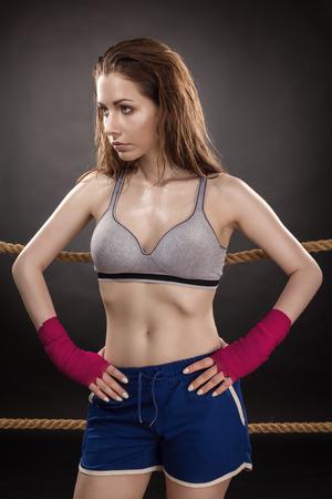 Woman Boxer On Ring Reklamní fotografie