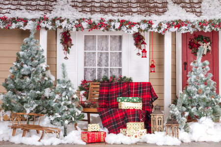 door opening: Beautiful House Decorated For Christmas And New Year Stock Photo