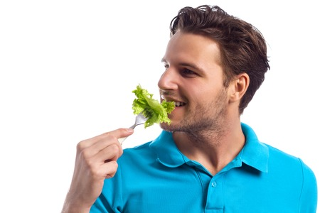 vegetable salad: Man With Salad Isolated On White Background. Healthy Eating Theme
