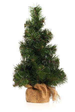 fake christmas tree: Mini Fake Christmas Tree Isolated On White Background Stock Photo