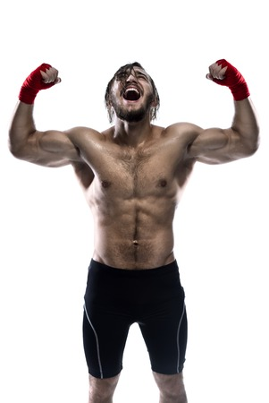 artes marciales mixtas: Mixed Martial Arts Fighter Poses Isolated On White Background