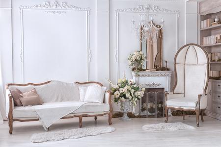 クラシックな内装のリビング ルームにはソファと暖炉のそばの肘掛け椅子