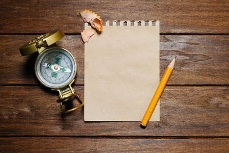 pencil and paper: Vintage Still-Life With Compass, Pencil, Paper On Wooden Table