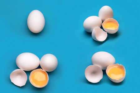 Collage With Broken Eggs On A Blue Background