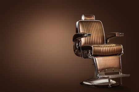 Stock Photo   Stylish Vintage Barber Chair Isolated On Brown Background.  Barbershop Theme