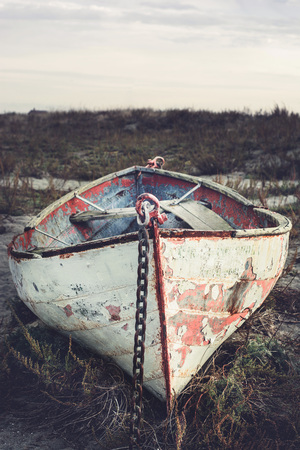 beached: Beached boat. Stock Photo